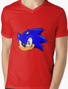Sonic the Hedgehog. The Iconic Head Mens V-Neck T-Shirt