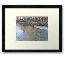 Ice Forming On The Banks Framed Print