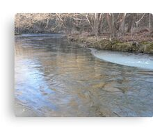 Ice Forming On The Banks Canvas Print