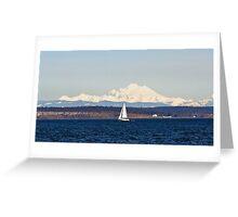 Sailing Past Mount Baker Greeting Card