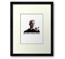 Spike, out for a walk - dark font (TSHIRT) Framed Print