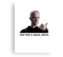 Spike, out for a walk - dark font (TSHIRT) Canvas Print