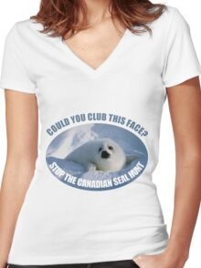 Stop The Canadian Seal Hunt Women's Fitted V-Neck T-Shirt
