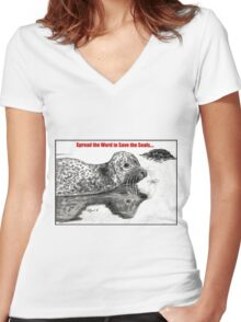 Spread the Word to Save the Seals Women's Fitted V-Neck T-Shirt