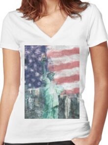 Blessed With Liberty Women's Fitted V-Neck T-Shirt