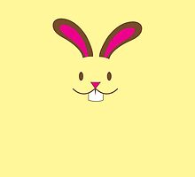 Simple and cute Easter bunny rabbit face smiling by jazzydevil