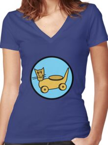 CAT TOY  Women's Fitted V-Neck T-Shirt