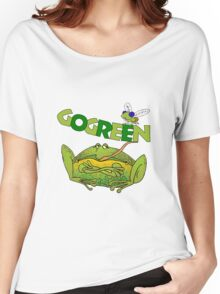 Funny Ecology Go Green Frog Women's Relaxed Fit T-Shirt