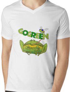Funny Ecology Go Green Frog Mens V-Neck T-Shirt