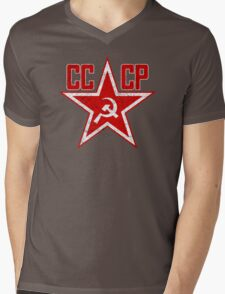 Russian Soviet Red Star CCCP Mens V-Neck T-Shirt