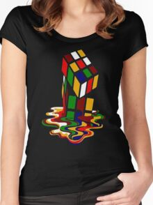 Melting Rubik's Cube Shirt Funny Women's Fitted Scoop T-Shirt