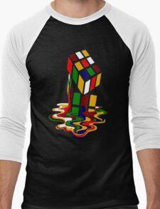 Melting Rubik's Cube Shirt Funny Men's Baseball ¾ T-Shirt