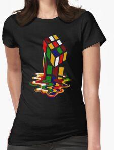 Melting Rubik's Cube Shirt Funny Womens Fitted T-Shirt