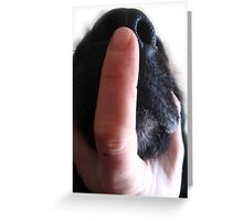 DOG NOSE FINGER Greeting Card
