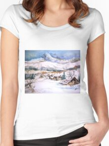 snow scene Women's Fitted Scoop T-Shirt