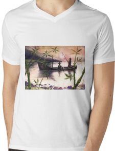 Fishing Sunset Mens V-Neck T-Shirt