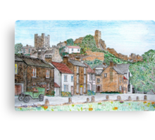 Graphite and Coloured Pencil Drawing of  Richmond, Yorkshire - all products Canvas Print