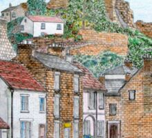 Graphite and Coloured Pencil Drawing of  Richmond, Yorkshire  Sticker