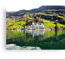 Hotel on Lake Lucerne Canvas Print