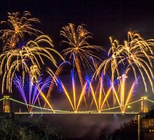 Fireworks on Clifton Suspension Bridge, Bristol *2 by Robbie Labanowski