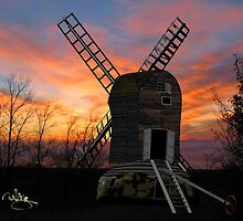 The Postmill (Black Mill) Mousehold Heath, Norfolk 1840 by Dennis Melling