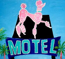 The Pink Poodle Motel Sign [oil ,acrylic,texture paint, painting] by Virginia McGowan