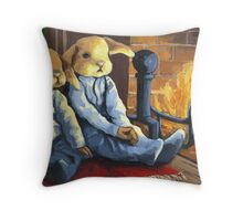 The Mopsy Twins on Xmas Throw Pillow