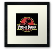 Super Mario World Yoshi Park Jurassic Park Distressed Tee Framed Print