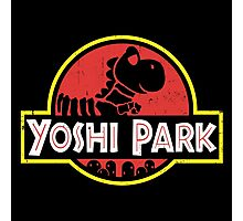 Super Mario World Yoshi Park Jurassic Park Distressed Tee Photographic Print