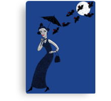 Weird woman with midnight bats Canvas Print