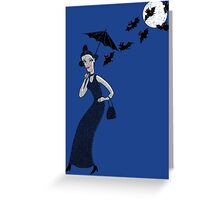 Weird woman with midnight bats Greeting Card