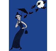 Weird woman with midnight bats Photographic Print