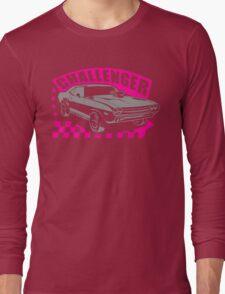Dodge Challenger Girl Edition   Grey - Pink Long Sleeve T-Shirt