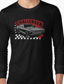 Dodge Challenger | Grey - Red - White Long Sleeve T-Shirt