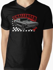 Dodge Challenger | Grey - Red - White Mens V-Neck T-Shirt