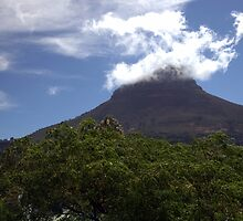 Fluffy white clouds around Lion's Head by Chris Fick