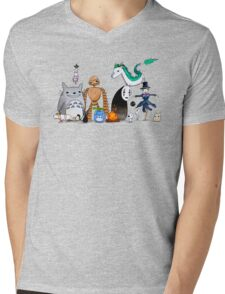 Ghibli Friends  Mens V-Neck T-Shirt