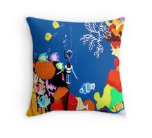 Corky the scuba-diver Throw Pillow