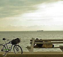 sleeping. bench. seaside by rafaj