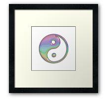 Shiny Pastel Stripe Yin Yang Symbol Framed Print