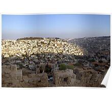 The view from Jerusalem Wall around the old city Poster