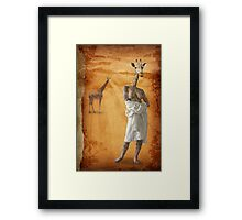 The woman who fell in love with giraffes Framed Print
