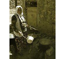 Turkish Village Woman Cooking Photographic Print