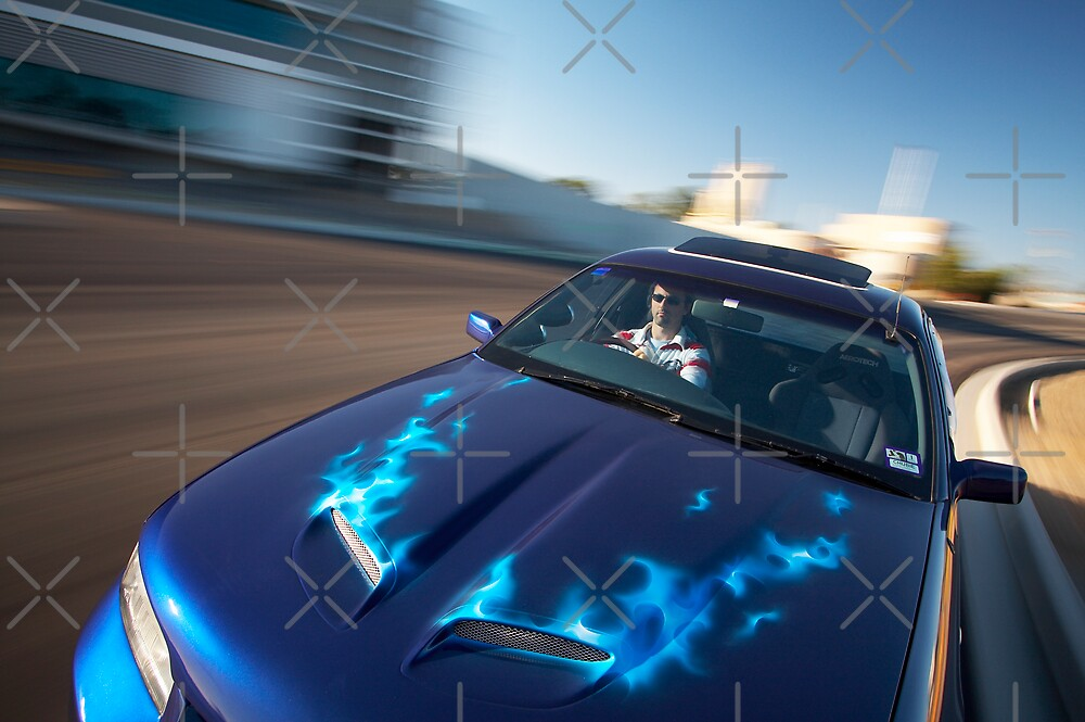 Blue Flames Holden Commodore Ute by John Jovic