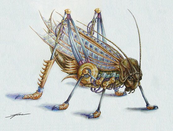 Metal Grasshopper by Ine Spee