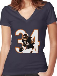 WALTER PAYTON Women's Fitted V-Neck T-Shirt