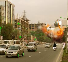 It's a full scale Intergalactic dOve Invasion of Lahore Skycity! by Kenny Irwin