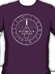 Gravity Falls Bill Cipher - White on Black T-Shirt