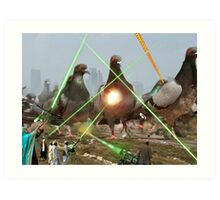 Oh no! It's an Intergalactic dOve Invader Stampede! Art Print