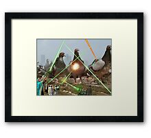 Oh no! It's an Intergalactic dOve Invader Stampede! Framed Print